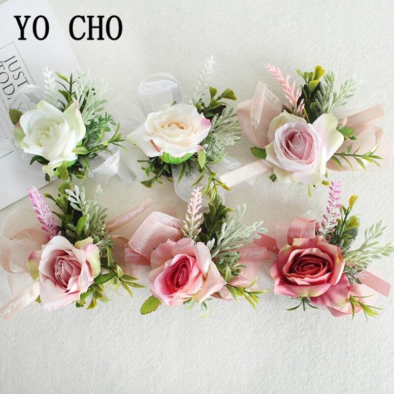 YO CHO Wrist Corsage Bracelet For Bridesmaid Silk Wedding Flowers Bracelet Boutonniere Buttonhole Wedding Marriage Groom Corsage