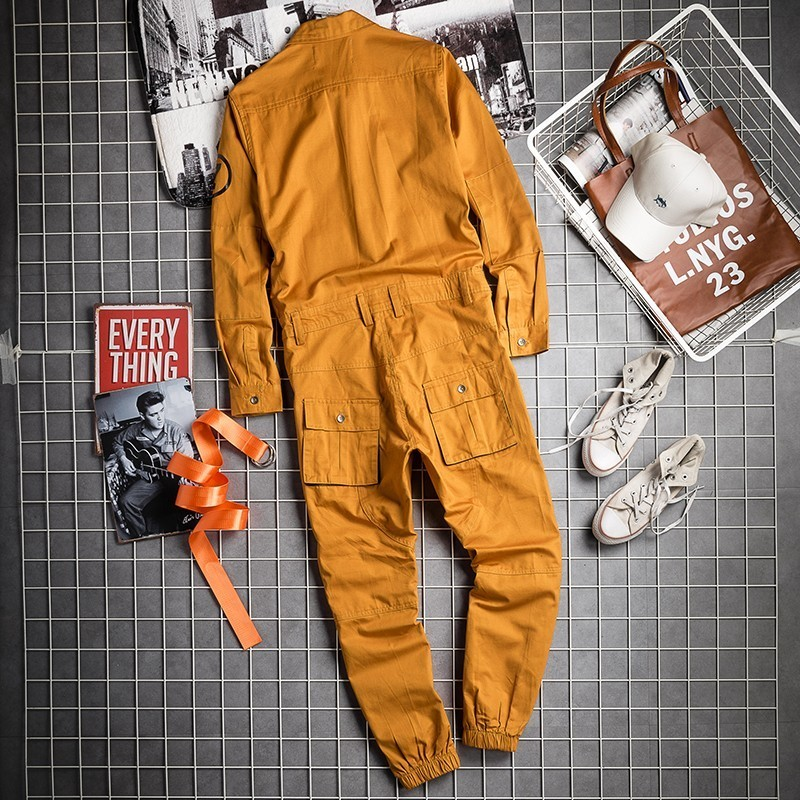 2020 Autumn Hip Hop Mens Jumpsuits Long Sleeve One Piece Vintage Joggers Overalls Korean Casual Loose Rompers Full Length Pants