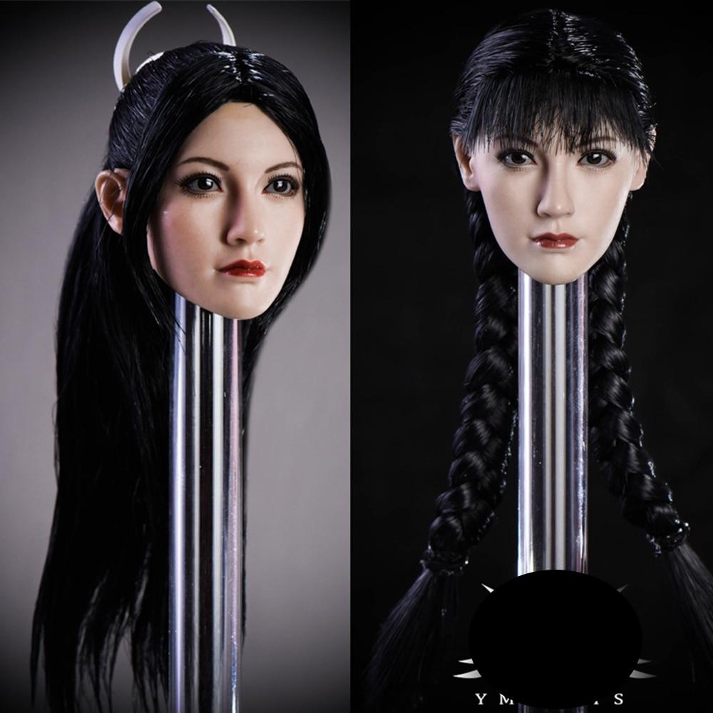 MTOYS YMT021A 1//6 Scale Asian Beauty Qian Female Brown Curly Hair Head Sculpt