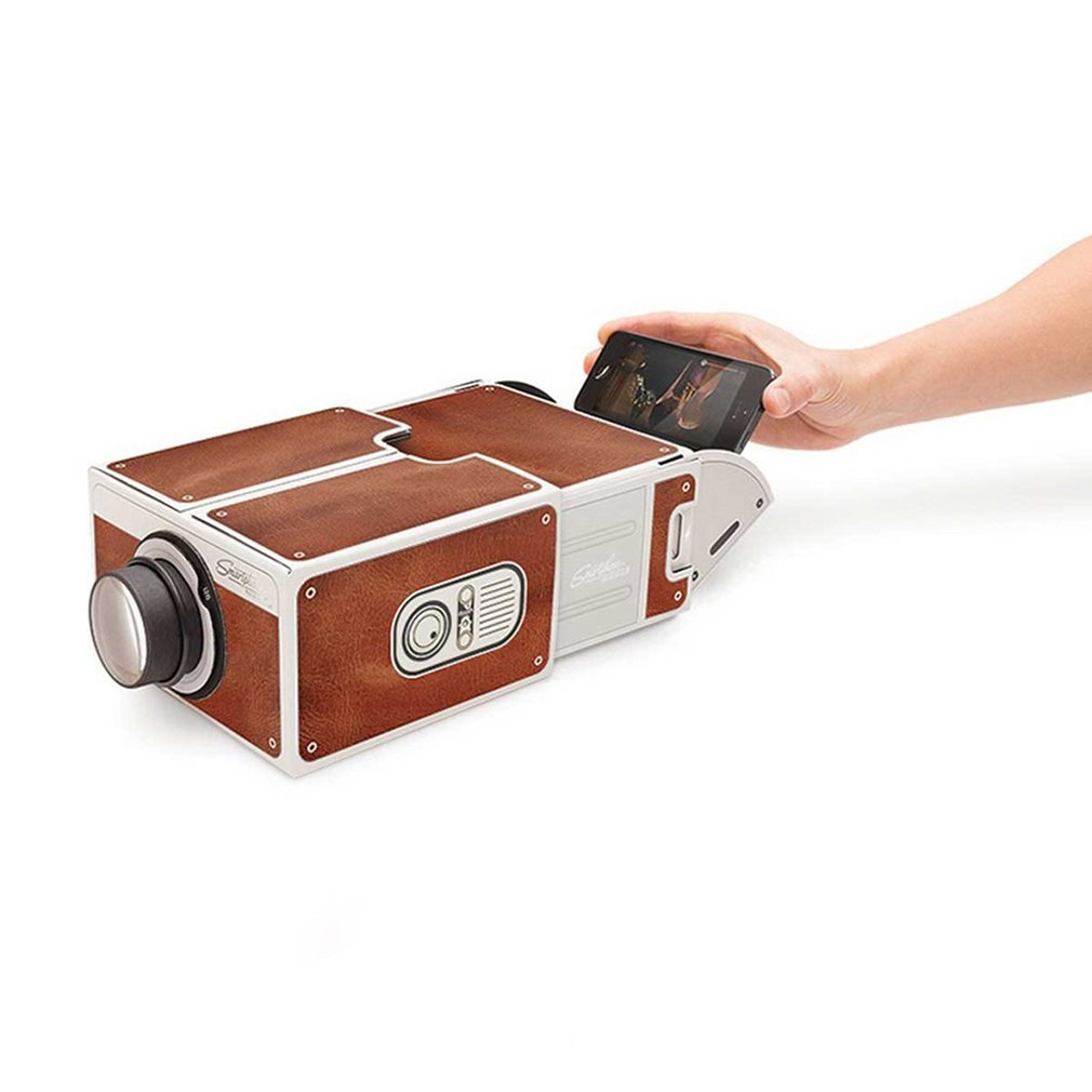 Mini Portable Cardboard Smart Phone Projector 2.0 Mobile Phone Projection for Home Theater Audio & Video Projector