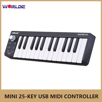 Worlde MIDI klawiszach fortepianu Easykey 25 przenośny Mini 25-znakowy klucz kontroler USB MIDI синтезатор klawiatura MIDI elektroniczne organki tanie i dobre opinie CN (pochodzenie) Beginner Pionowe pianino Worlde Easykey 25 Kompozyty Wielowarstwowe 11