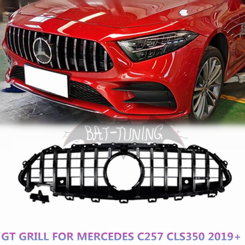 Parrilla estilo GT para Mercedes CLS clase Facelift CLS300 CLS350 CLS450 CLS500 CLS53 AMG 4Matic ABS parrilla frontal con Camara 2019 + Transmisión conector 13-Pin adaptador macho de 722,6 para Mercedes-Benz W219 CLS320 CLS280 CLS350 CLS300 CLS500 CLS550 A2035400253