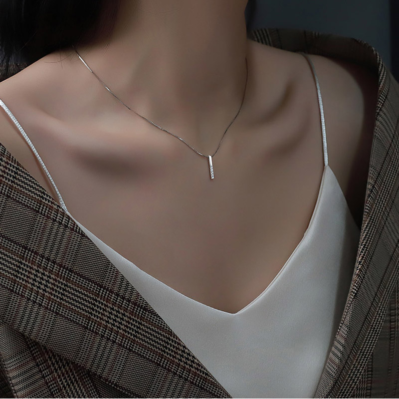 Minimalist 925 Sterling Silver Geometric Necklace AAA Shiny Zircon Long Cube Fine Jewelry Girls Party Birthday Got Engaged Gift