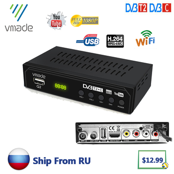 Vmade DVB T2 DVB C TV Receiver digital tv set-top box DVB T2 HD H.264 Decoder DVB C TV Tuner support YouTube USB WIFI DVB T2 телевизор oled lg 78 oled77c9pla черный ultra hd 100hz dvb t2 dvb c dvb s2 usb wifi smart tv rus