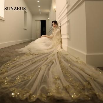 Voile de mariee longue 4M Champagne Bridal Veils With Gold Appliques Sequins Luxury Mantillas For Church One Layer Wedding Veil
