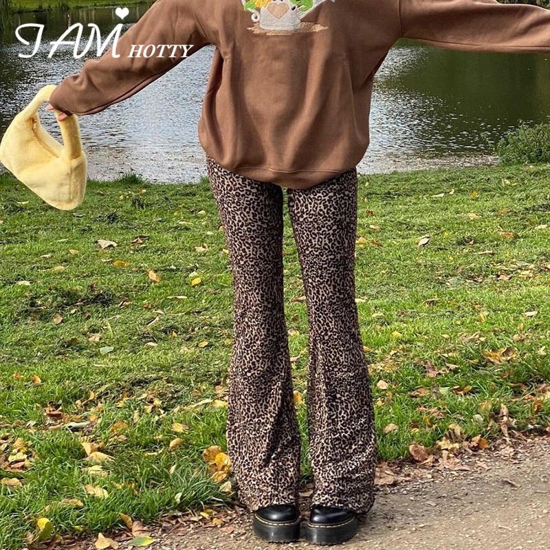 Расклешенные двухслойные сетчатые брюки Y2K с леопардовым принтом, Капри, Женские винтажные коричневые мешковатые брюки с высокой талией в с...