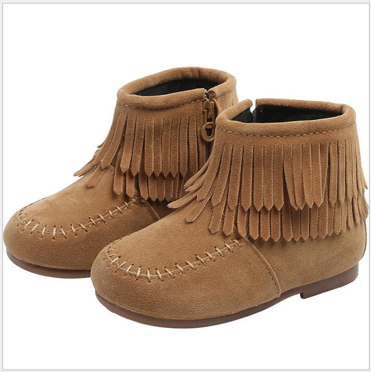 Girls Ankle Boots Princess Sweet Red Brown Black Flock Fabric Warm Rubber Boots For Toddler Kids Cotton-padded Tassels Shoes