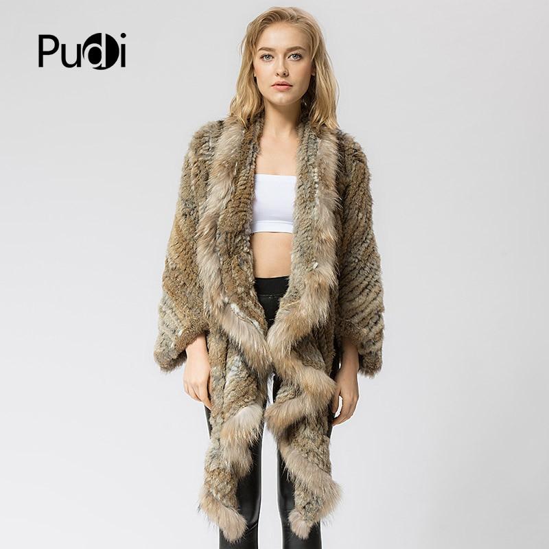 CR049 Knitted knit new real rabbit fur coat overcoat jacket women's winter warm genuine fur coat with raccoon fur collar