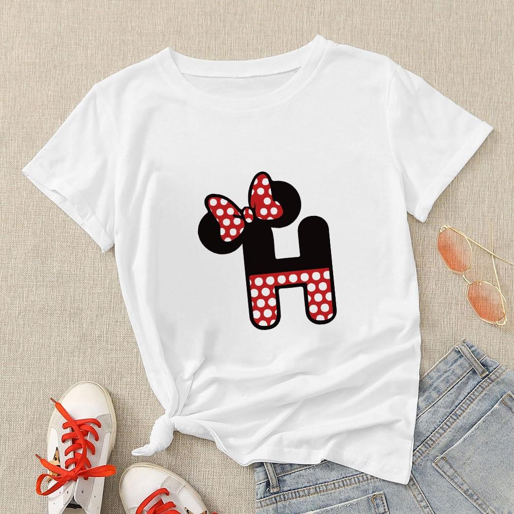 Disney Aesthetic Women Modern T Shirt Creative Oversize T-shirt Streetwear Mickey Letter H Graphic Short Sleeve Casual Tshirt 1