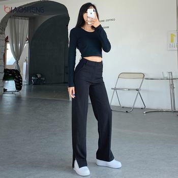 Spodnie damskie spodnie wysokiej talii spodnie moda luźne spodnie Flare spodnie szerokie nogawki kobiece pełnej długości Casual Plus Size proste spodnie tanie i dobre opinie BIAO SHENG CN (pochodzenie) Wiosna jesień COTTON BS1110 Stałe Na co dzień Mieszkanie Osób w wieku 18-35 lat Zipper fly