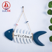 цены LUCKK Mediterranean Hanging Wood Fish Bone Welcome Board Doorplate Home Decor Pub Restaurant Store Wall Art Furnishing Welcome