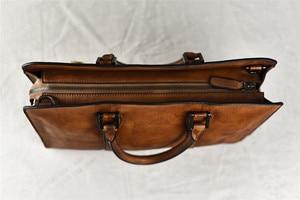 Image 3 - PNDME vintage high quality genuine leather mens briefcase business laptop handbag luxury cowhide office shoulder messenger bags