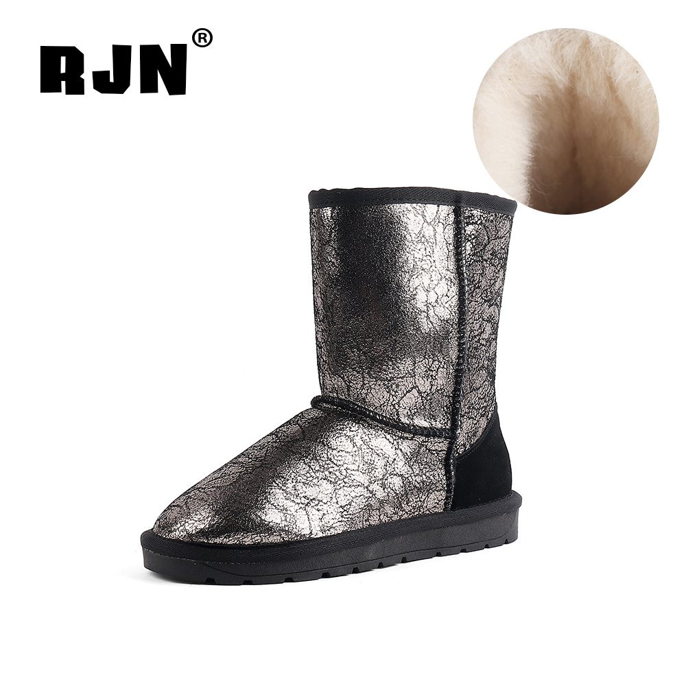New RJN Comfortable Snow Boots Wool Insole Fashion Printed Flock Round Toe Low Heel Slip-On Shoes Women Ankle Boots For Winter RX30