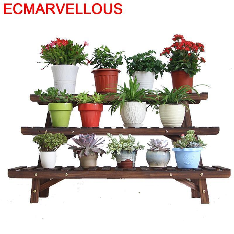 Madera Mueble Plantas Rack Table Estanteria Para Macetas Outdoor Stojak Na Kwiaty Dekoration Balcony Flower Shelf Plant Stand