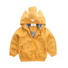 Baby Jackets  New Autumn Children Warm Coats Toddler Girls Cute Cartoon Rabbit Printing Hooded Outerwear Clothes