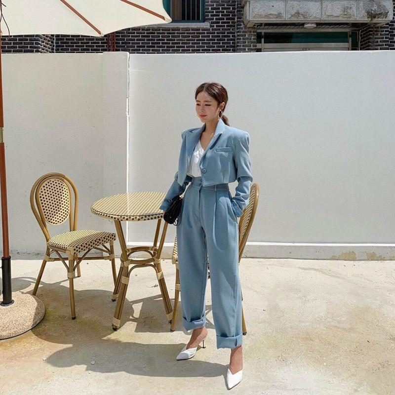 New Autumn Blue Notched Blazer Set Office Ladies Single-Breasted Two-Piece Set Elegant Pockets Two-Piece Outfits