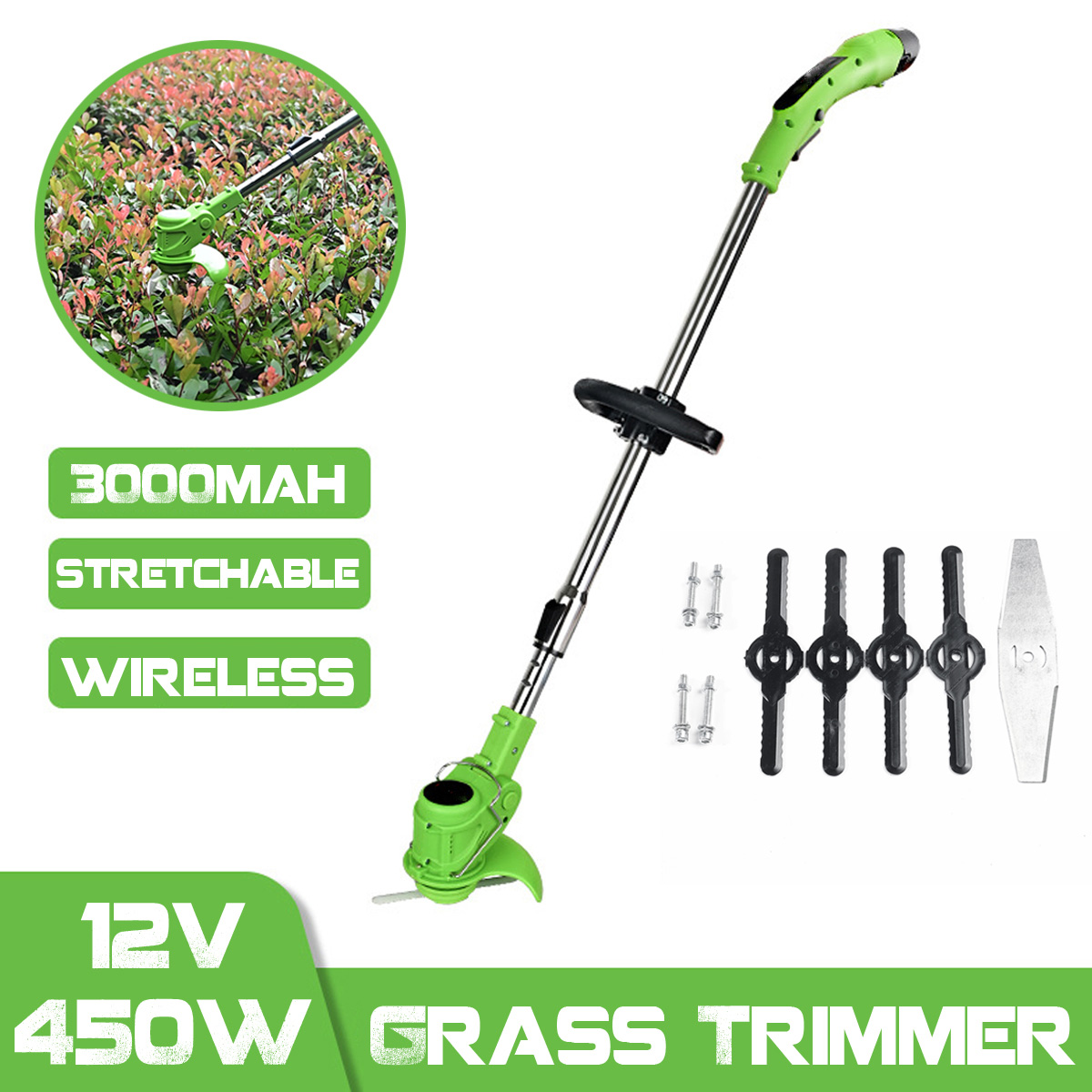 Meigar 3000mah 12V 450W Adjustable Rechargeable Wireless Grass Trimmer Electric Garden Push Lawnmower 1 Battery 1 Charger VDE