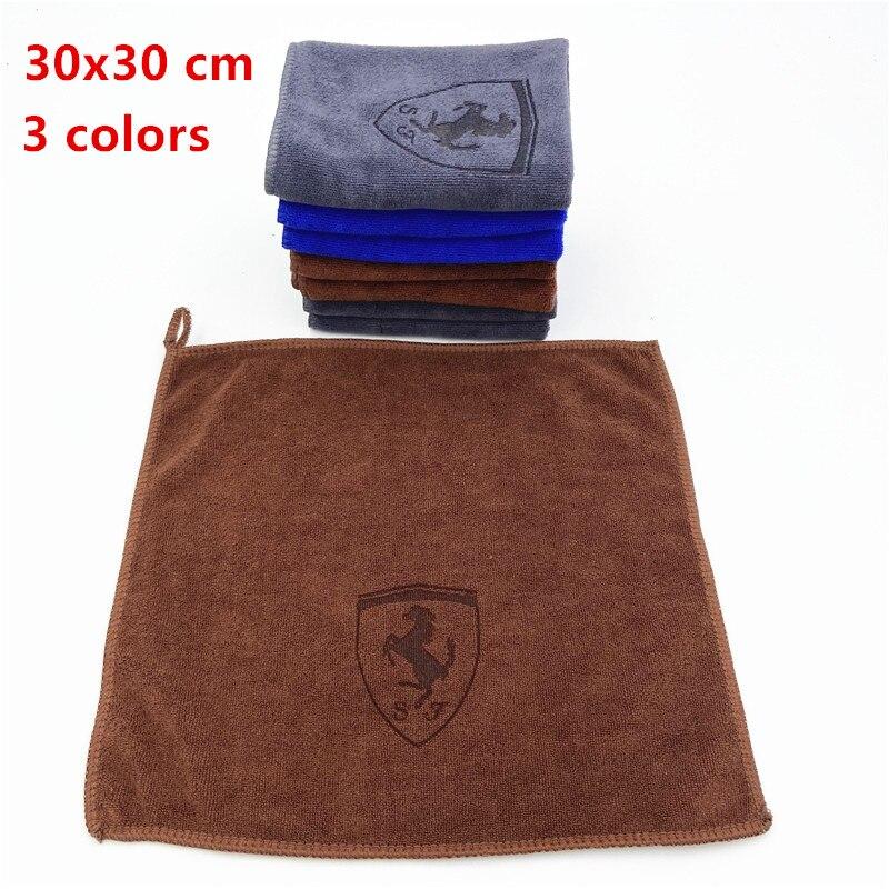 30*30CM Car Sticker Wash Microfiber Towel Car Cleaning For Ferrari California GTC4 Lusso F430 458 488 599 Roma auto styling