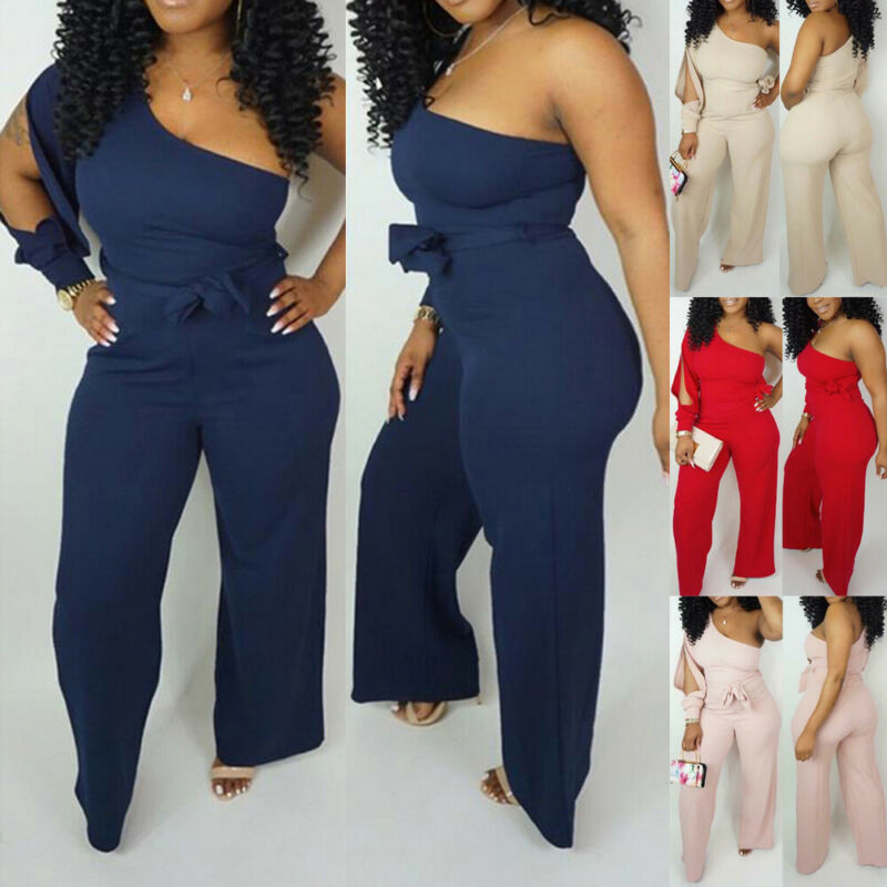 2019 Women One Shoulder Casual Club Party Summer Wide Legs Jumpsuit Romper Long Pants Hole Long Sleeve Romper Plus Size S-XXL