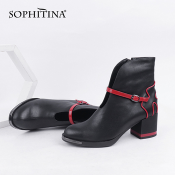 SOPHITINA Women's Shoes New Fashion Unique High Quality Genuine Leather Handmade Ankle Boots Square Heel Zipper Boots Women C833 sophitina wool winter boots high quality genuine leather comfortable round toe square heel shoes new handmade women boots c624