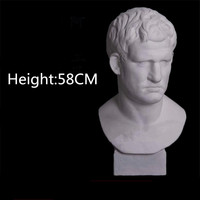 58CM Roman Mythology Marcus Agrippa Bust Gypsum Head Portraits Statue Line Drawing Teaching Aids Bust Art RESIN Ornaments M3852