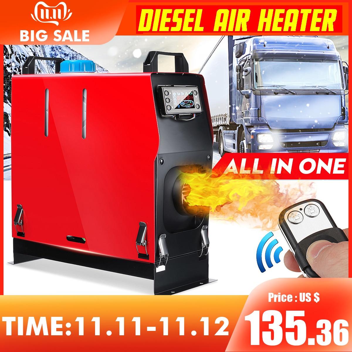 Tudo em um diesels de ar aquecedor 1kw-8kw ajustável 12 v um buraco aquecedor de carro para caminhões motor-casas barcos ônibus + lcd chave interruptor + remoto