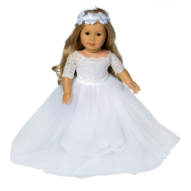 Doll Clothes Accessories Born New Baby Fit 18 inch 40-43cm Crown hair with girl's White Pink Wedding Dress Set For Baby Gift