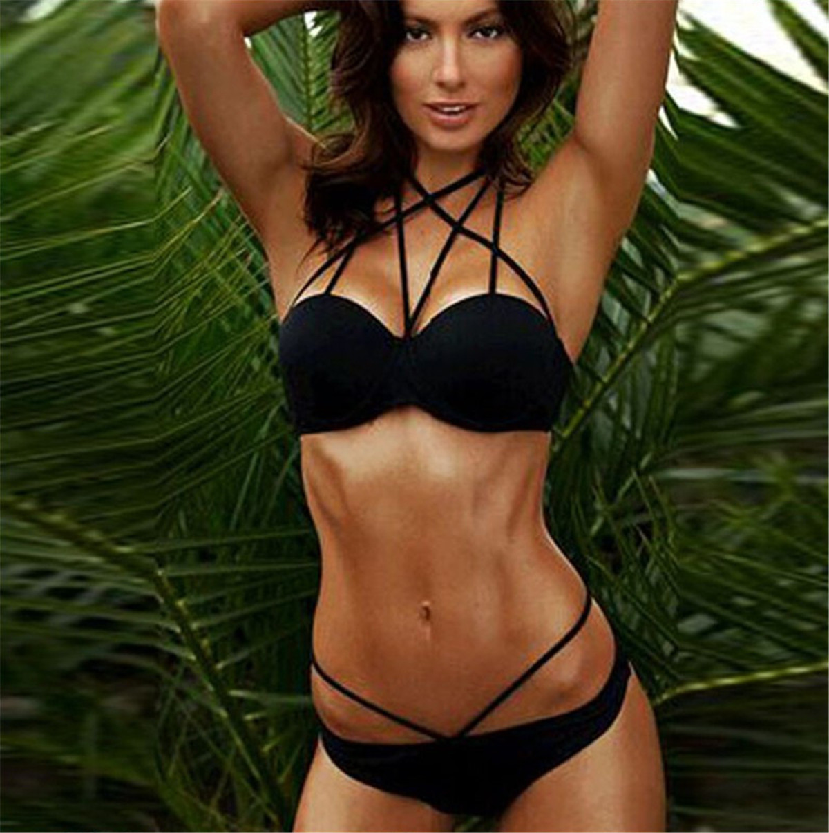 2020 Push-Up Bikinis Sexy Black Bandage Design Halter Bikini Swimsuit Women Low Waist Women Swimwear Swimming Brazilian Biquini
