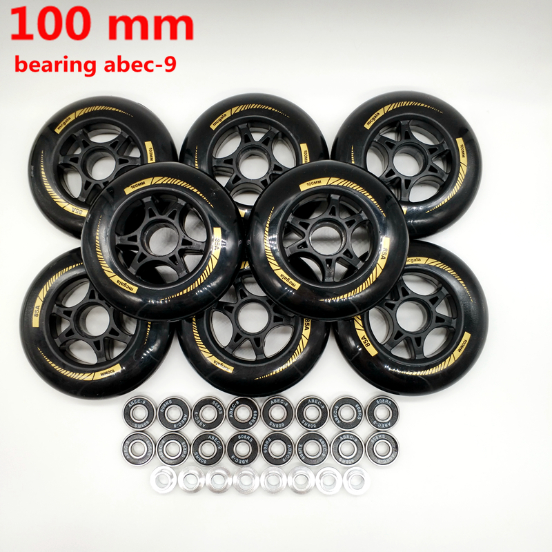 Free Shipping Speed Skate Wheel 100 Mm 90 Mm 85 A  8 Pieces / Lot Bearing ABEC-9