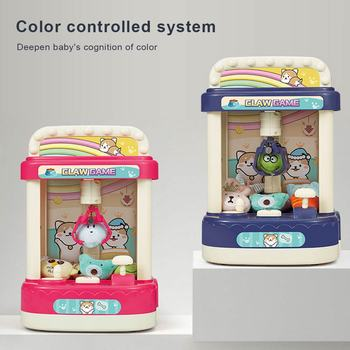 Children's Mini Clip Doll Machine Handle Clip Doll Slot Machine Play House Toys Household Catch Doll Machine with Lights Sound