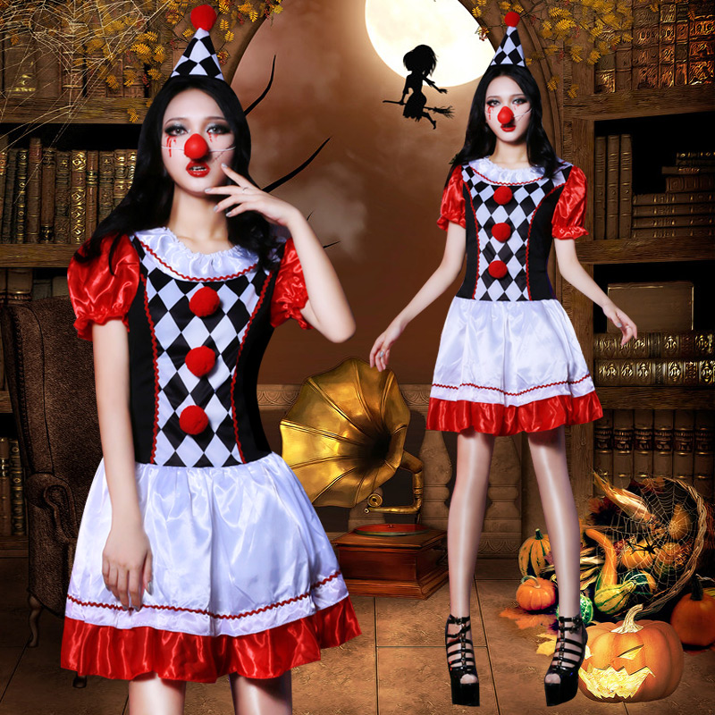Halloween Stage Costume Female Adult Cosplay Clown Suit Festival Bar Gogo Clothing Nightclub Singer Dj Show Ds Wear Lady DT1596