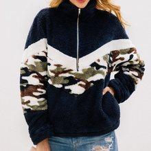 Long Sleeve Camouflage Hoodie Women Autumn Winter Loose Pullover Sweatshirt Plush Korean High Street Top 2019 Fashion Jacket