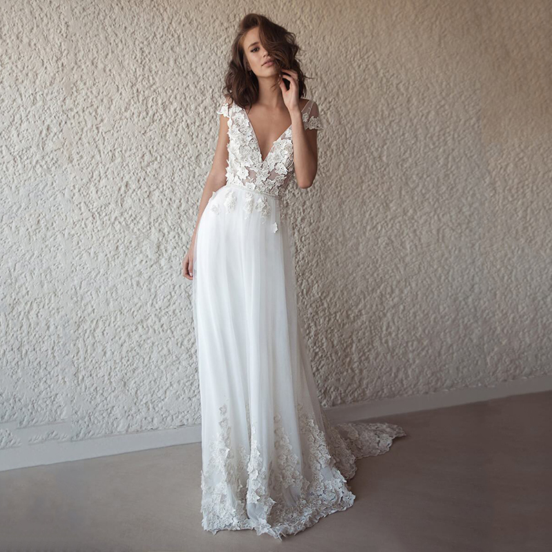 Bohemian Lace Tulle Wedding Dresses 2020 See Through V Neck Boho Wedding Dresses Beach Bridal Dress Long Robe De Mariage
