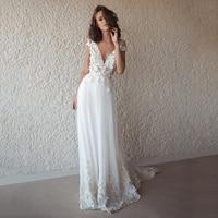 Bohemian Lace Tulle Wedding Dresses 2020 See Through V neck Boho Wedding Dresses Beach Bridal Dress Long robe de mariage