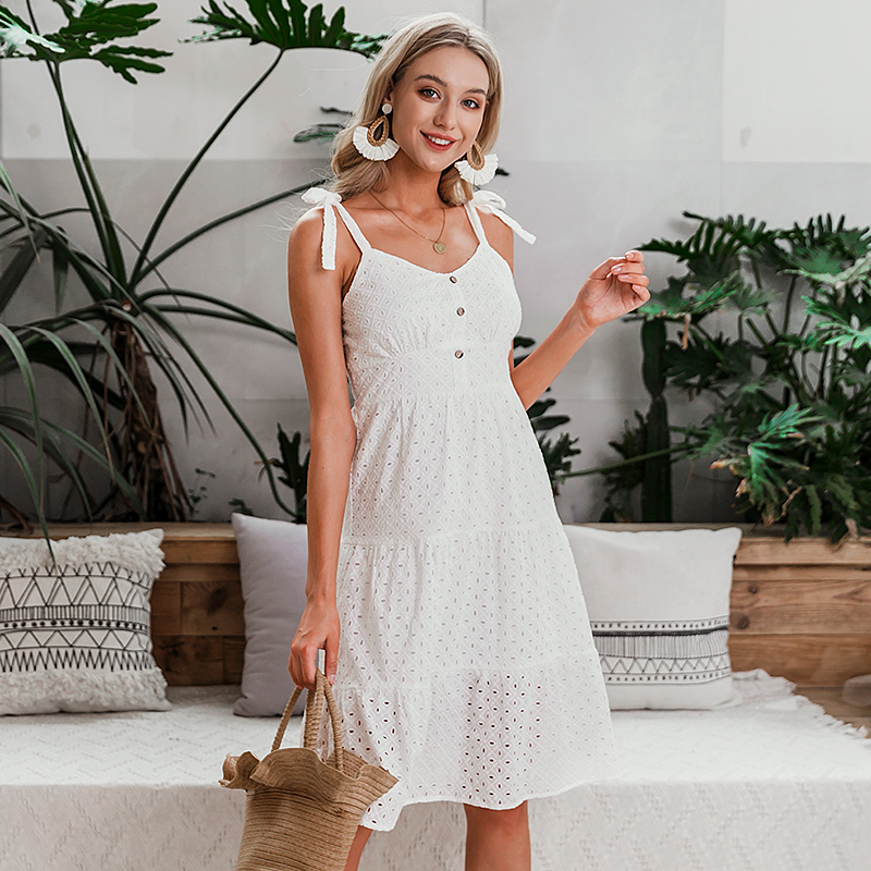 Embroidery Floral Midi Dress