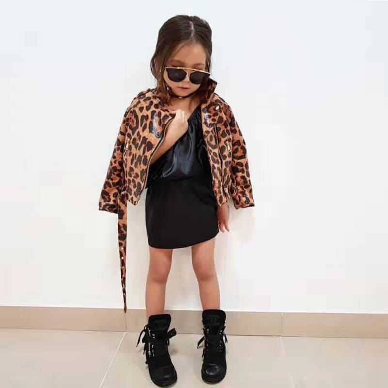 Leopard Leather Jackets for Kids Girls Faux Leather outerwear for Toddler Girls PU Leather coats Children clothes for 2-6T
