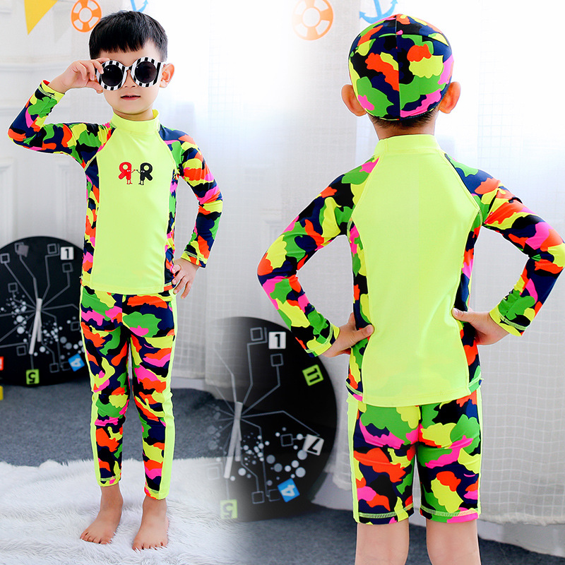 Camouflage Children Split Type BOY'S Boxer Long Sleeve Trousers Sun-resistant Suit Shorts Two Piece Set With Hat Beach Hot Sprin