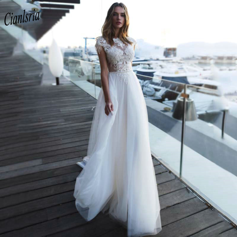 Charming Illusion Top Cap Sleeves Long Country Wedding Dress With Beading Sashes Appliques Lace Backless Bridal Wedding Dresses