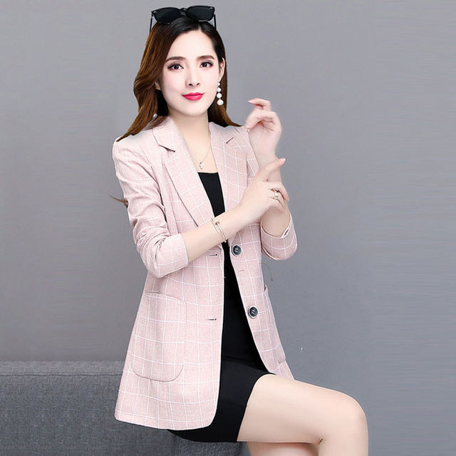 PEONFLY Spring Jacket Women Coats Retro Plaid Outwear Casual Turn Down Collar Office Wear Work Single Breasted Jackets Blazer 6
