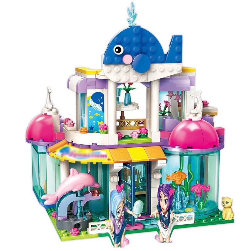In Stock 327pcs  Compatible Lepining BlueWhale Aquarium Building Blocks Girls Block Toys Princess Sets Bricks Model Kids Friends