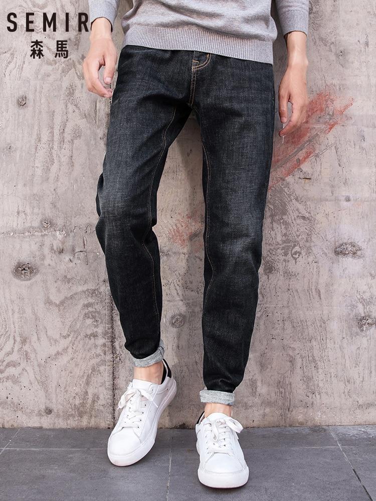 SEMIR New Arrivals Jeans Men Quality Brand Business Casual Male Denim Pants Straight Slim Fit Dark Blue Men Trousers Man