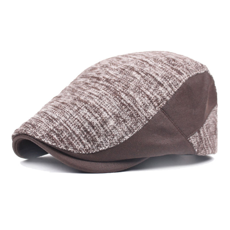 Mens Newsboy Hat Knitted Cotton Hat Golf Driving Peaked Flat Cabbie Beret Cap
