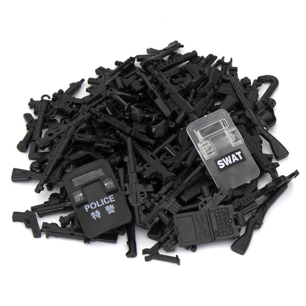 520 unids/set serie militar bloques de construcción bloques juguetes para niños SWAT de ciudad arma de policía armas paquete ejército WW2 accesorios para arma