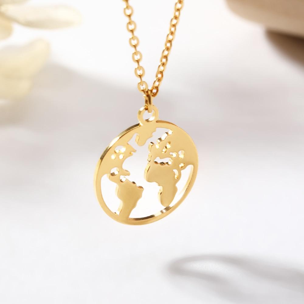 Ожерелье с изображением глобуса, карты мира, ожерелье из нержавеющей стали, Женские Ювелирные изделия в стиле бохо, Золотая цепочка, чокер, о...