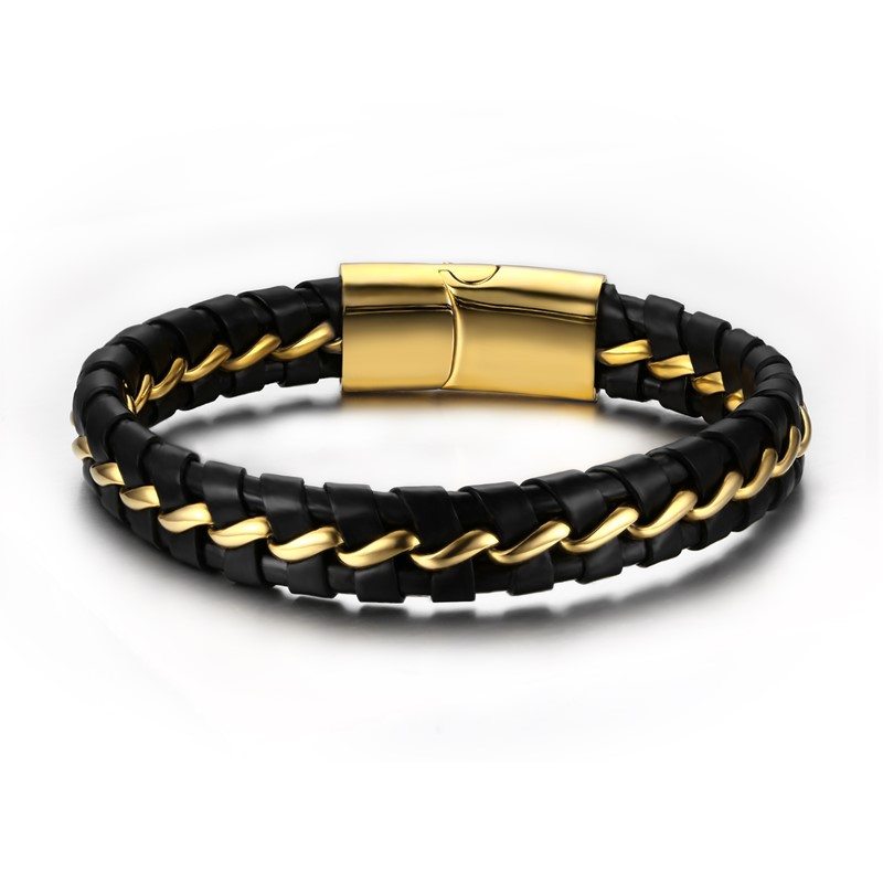 Vnox Genuine Leather Bracelet For Men Black Color Stainless Steel Wire Bangle Mens Jewelry For Friend New Arrival