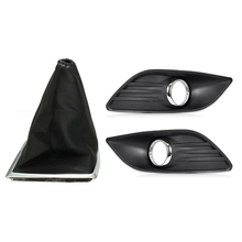 PU Leather Gear Gaiter Boot Knob Cover Handbrake with Car Right & Left Bumper Fog Light Ventilation Grille Lampshade