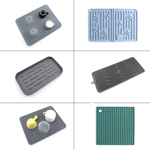 Draining Bar Mat Silicone Water Filter Cushion Kitchen Pot Bowl Tray Heat Proof Mat Cup Mat Multi-Function Draining Mat