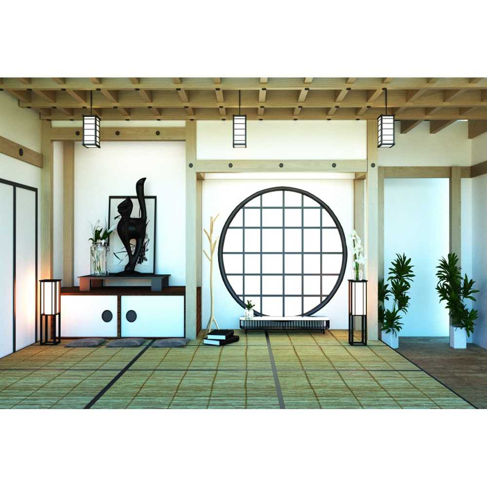 YEELE 10x8ft Japanese Room Interior Backdrop Corridor of Tatami Mats and Paper Sliding Doors Photography Background House Interior Design Kids Adults Portrait Photo Studio Props Digital Wallpaper