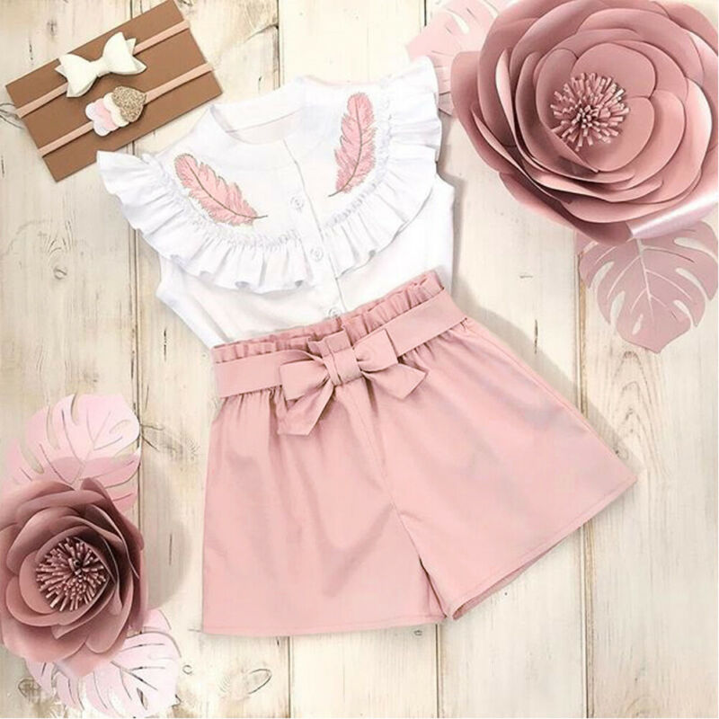 Pudcoco Toddler Kid Baby Girl Summer Button Sleeveless Tops Shirt Short Pants Outfit Set Clothes