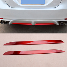2pcs Car Red Stainless Steel Rear Bumper Plate Lower Lip Decorator Pad Cover Trim Fit For Toyota Camry 2018 2019